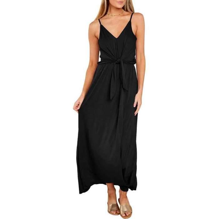Sexy V neck Lacing Vest Maxi Dresses