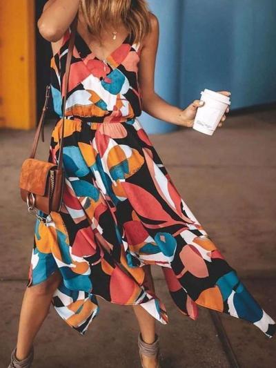 Fashion V neck Print Vest Skater Dresses