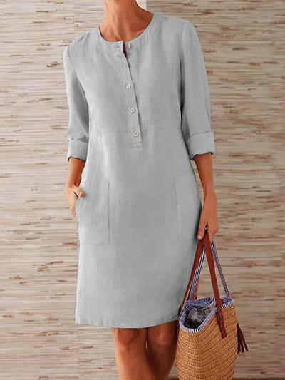 Loose cotton blend vintage long-sleeve shift dresses
