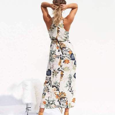 Fashion Print Halt Sleeveless Skater Dresses