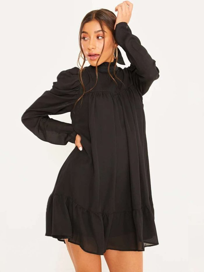 Casual Long sleeve Stand collar Drape Shift Dresses