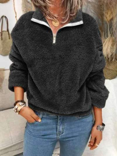 Plain Zipper High neck women fashion sweatshirts tops
