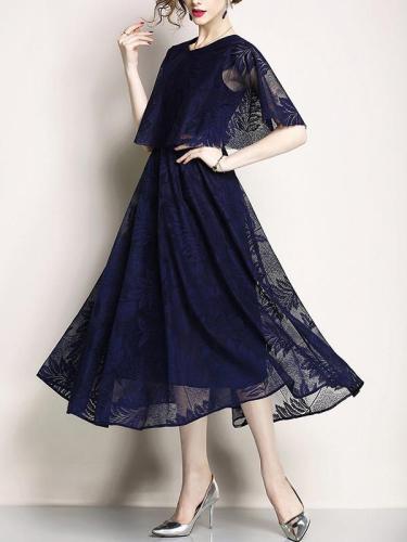 Stylish Round Neck Cloak sleeve Lace Printed Woman Elegant Maxi Dress