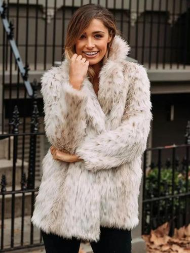 Simple Solid Colors Faux Fur Coat Outwears