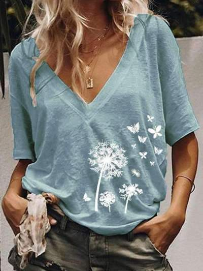 V neck short sleeves casual printed T-shirts for women