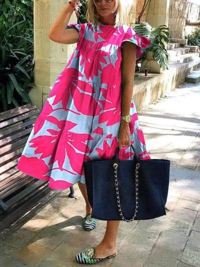 Women stylish printed hot round neck short sleeve Maxi dresses