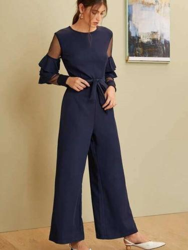 Fashion Grenadine Gored Long sleeve Jumpsuits