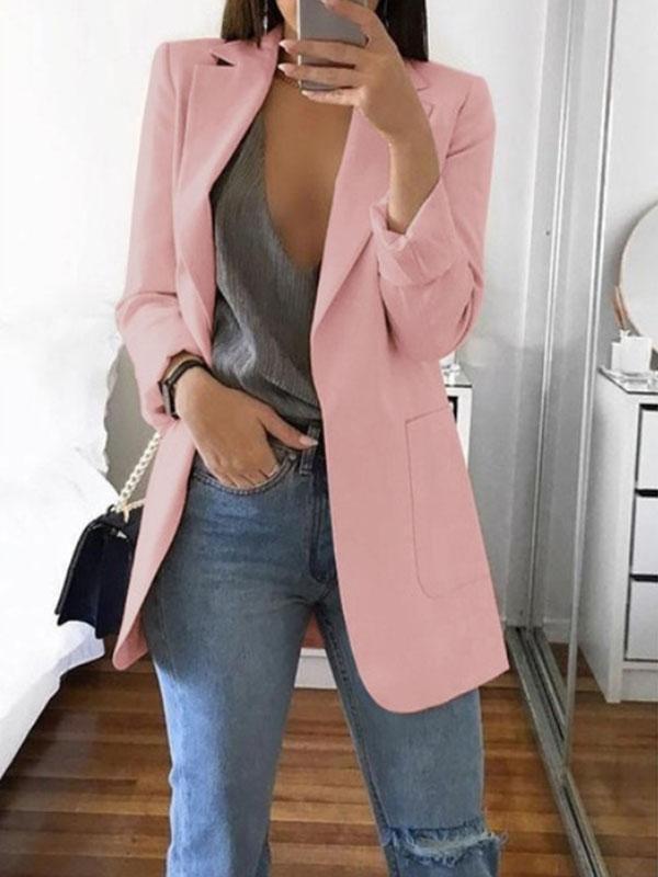 Solid Color Long-Sleeve Pocket Suit Woman Blazer