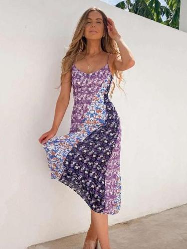 Fashion Print Gored Vest Sleeveless Backless Maxi Dresses