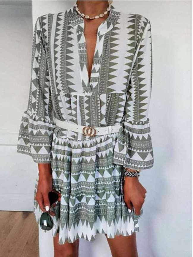 Fashion Print V neck Long sleeve Shift Dresses