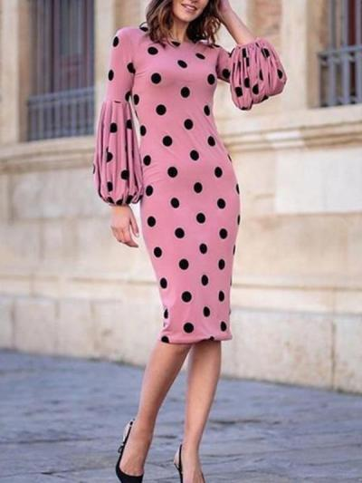 Fashion Polka dot  lantern sleeve Women Bodycon Dresses