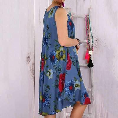 Casual Print Round neck Sleeveless Shift Dresses