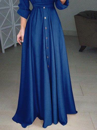 Plus Size Solid Woman Long Sleeve Button Tie Long Maxi Dresses