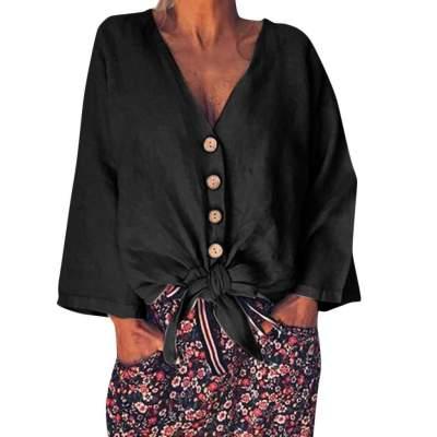 Fashion Pure V neck Fastener Long sleeve T-Shirts