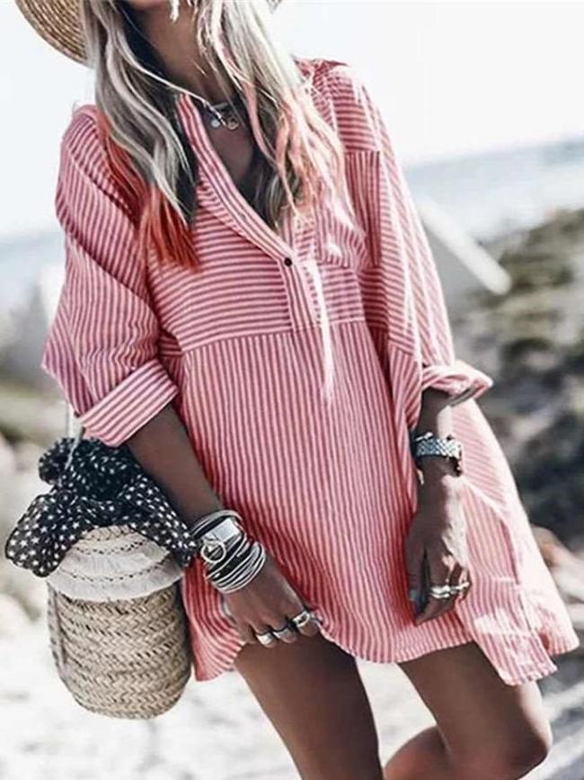 Casual Stripe Lapel Long sleeve Shirt Shift Dresses