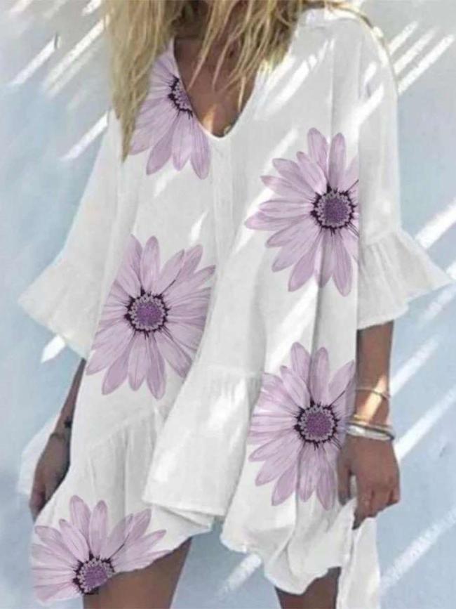 Casual Loose V neck Print Half sleeve Falbala Shift Dresses