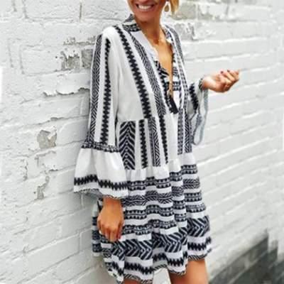 Casual Print V neck Long sleeve Gored Shift Dresses