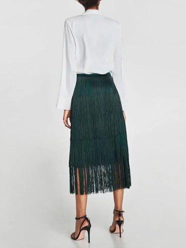 Woman Fashion Green Tassels Skirt