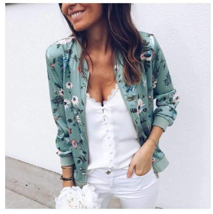 Fashion Print Round neck Zipper Long sleeve Jackets