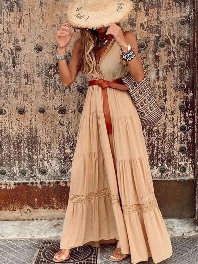 Fashion Pure Gored Sleeveless V neck Maxi Dresses
