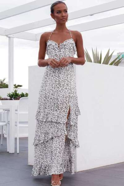 Fashion Point print Sleeveless Vest Falbala  Maxi Dresses