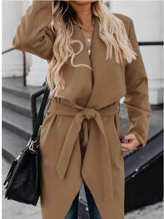 Fashion Pure Lapel Long sleeve Belt Coats