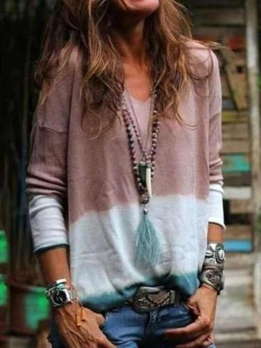V-neck Patchwork Color Tie Dyed Long Sleeve Casual T-shirt