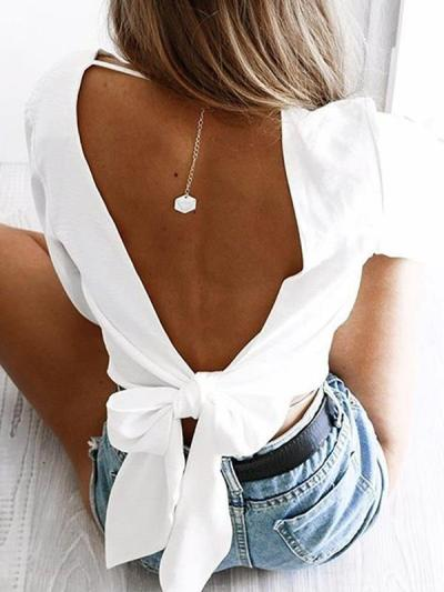 Sexy slim long sleeves backless knot blouses