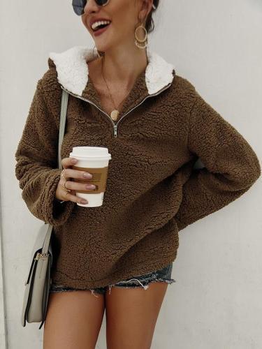 Zipper pocket high collar blouse hoodied