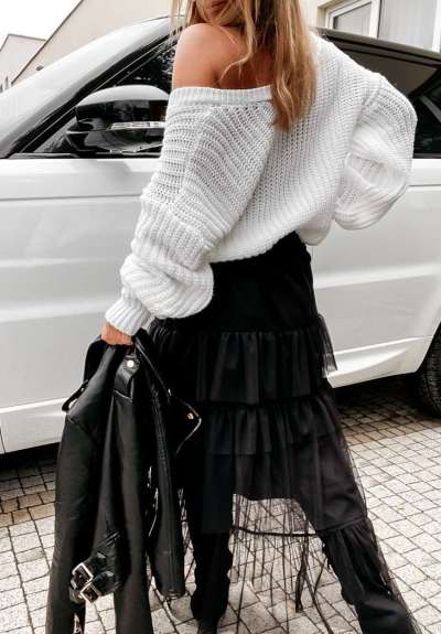Casual Loose Pure V neck Long sleeve Knit Sweaters