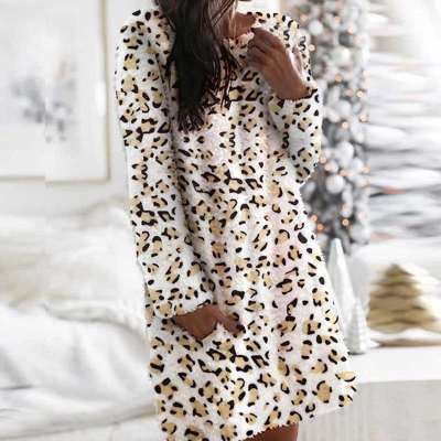 Casual Print Plush Round neck Long sleeve Pocket Shift Dresses