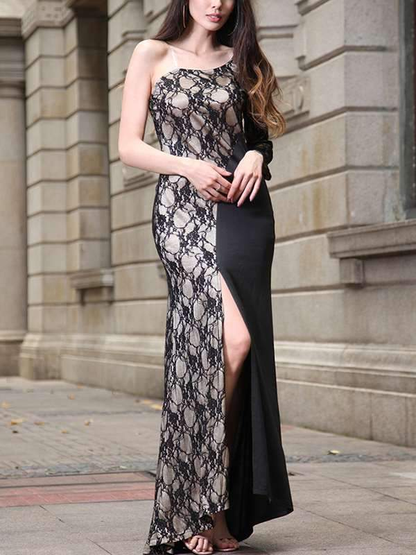 Sexy Lace Slit One Off Shoulder Evening Dress