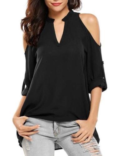 V neck Off shoulder Long sleeve Blouses