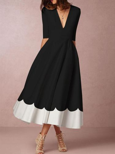 Deep V Neck Date Elegant Maxi Dress