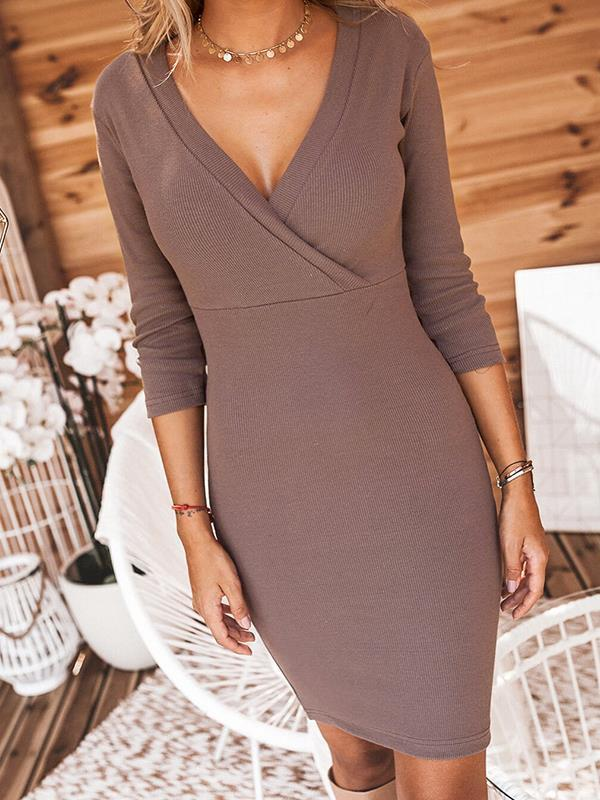 Sexy women v neck long sleeve bodycon dresses