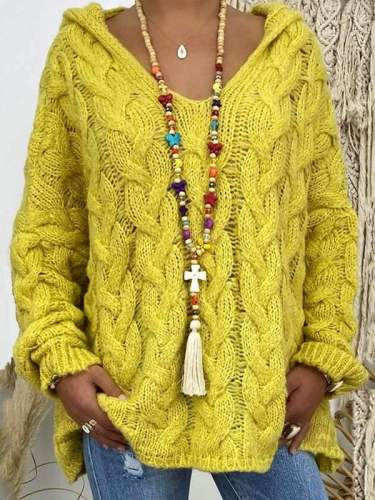 Solid color twist knit hoodied sweaters for women