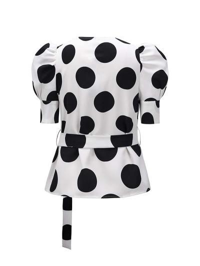 Slim Wave Dot puffed sleeves short sleeve Blouses