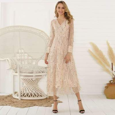 Fashion Purl Paillette Long sleeve V neck Maxi Dresses