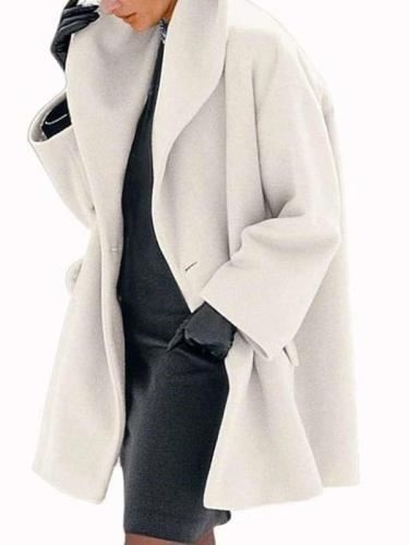 Fashion Cape collar Pure Long sleeve Coats