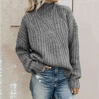 Fashion Pure High collar Long sleeve Knit Sweaters