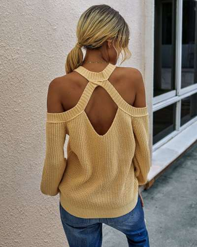 Fashion Pure Round neck Off shoulder Long sleeve Knit Sweaters