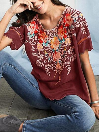 Plus size Floral Printed women Short Sleeve Bohemia T-shirts