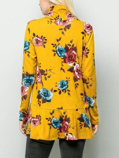 Printed High neck long sleeve T-shirts