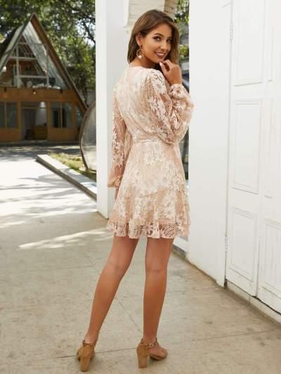 Fashion Lace Long sleeve Lacing V neck Shift Dresses