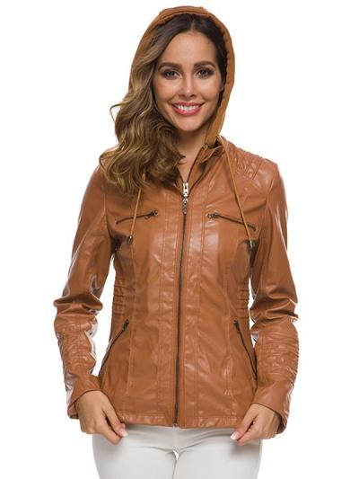 Long sleeve leather zipper women jackets