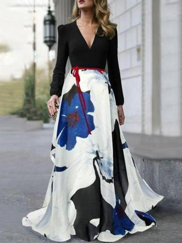 Elegant V-Neck Belt Floral Printed Long Sleeve Maxi Dresses