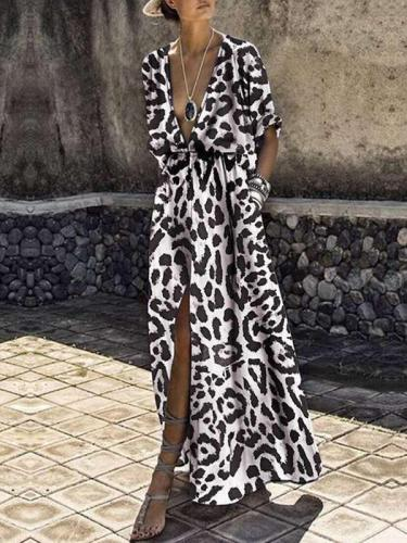 Printed deep V fashion maxi dresses