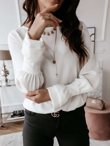 Fashion Pure Mandarin sleeve Round neck Blouses