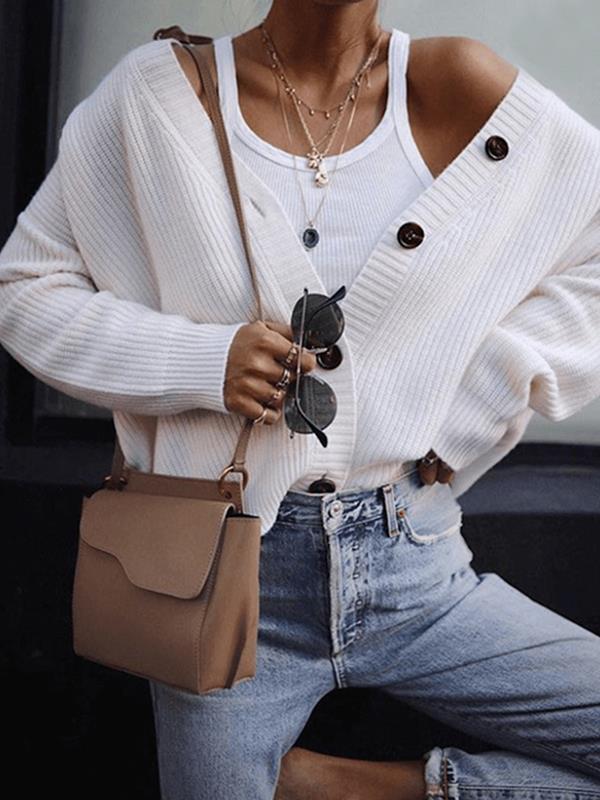 Woman stylish long sleeve botton sweater cardigans