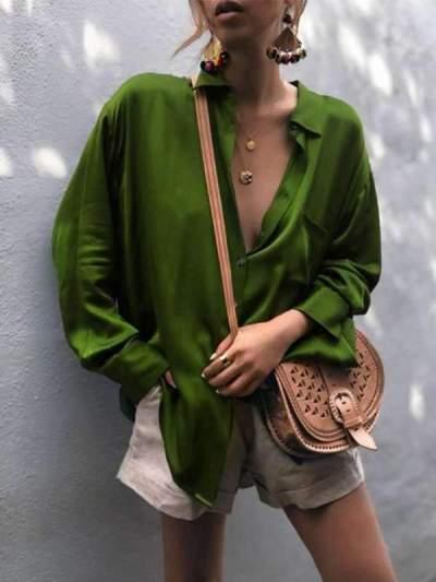 Fashionable Long-Sleeved Plain Blouses
